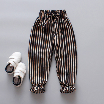 Stripe Elastic High Waist Drawstring Pant Girls Casual Loose Straight Trousers