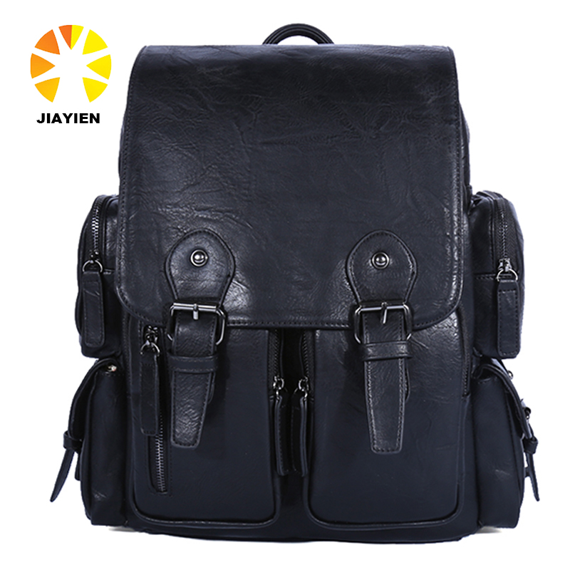 oem fashion custom Multiple pockets mochila soft pu leather laptop <strong>backpack</strong> pattern for man