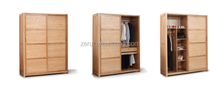 Solid oak furniture wooden sliding door bedroom wardrobe