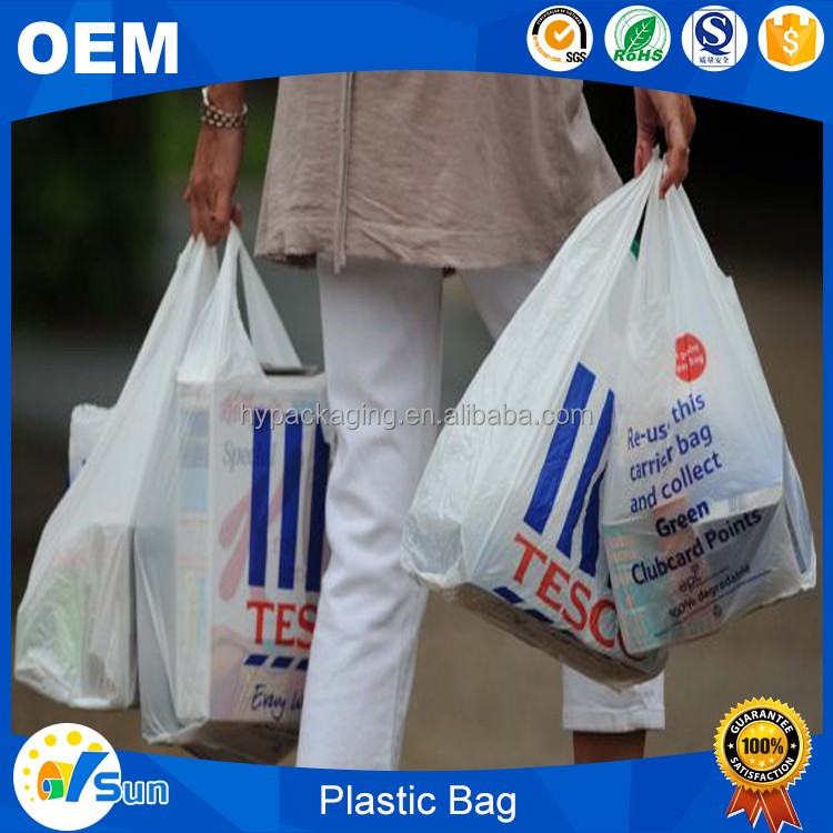 China Wholesale Cheap Printing Design Heat Seal Gusset T Shirt Handle Plastic Bags