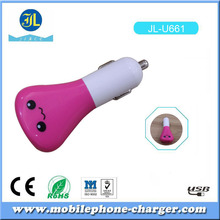 1A Lovely smile Micro Auto universal Dual 2 Port USB Car Charger Mini Car Charger Adapter