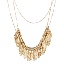 Layered Princess Gold Plated Necklace Jewelry N6-10664-2845
