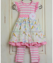 Wholesale Pink Striped Love Birds Dress and Leggings for Girls Sets 2017