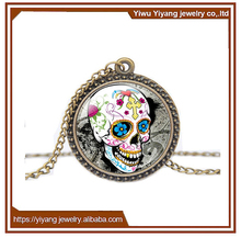 Mexican Halloween Skull Necklace Multicolour Rainbow Jewelry Acrylic