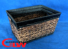 Set of 2 metal frame,rush and paper basket in black and brown color