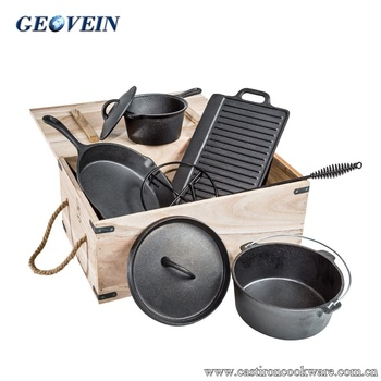 Outdoor cooking camping cast iron pot set 7pc pan skillet griddle bbq dutch oven