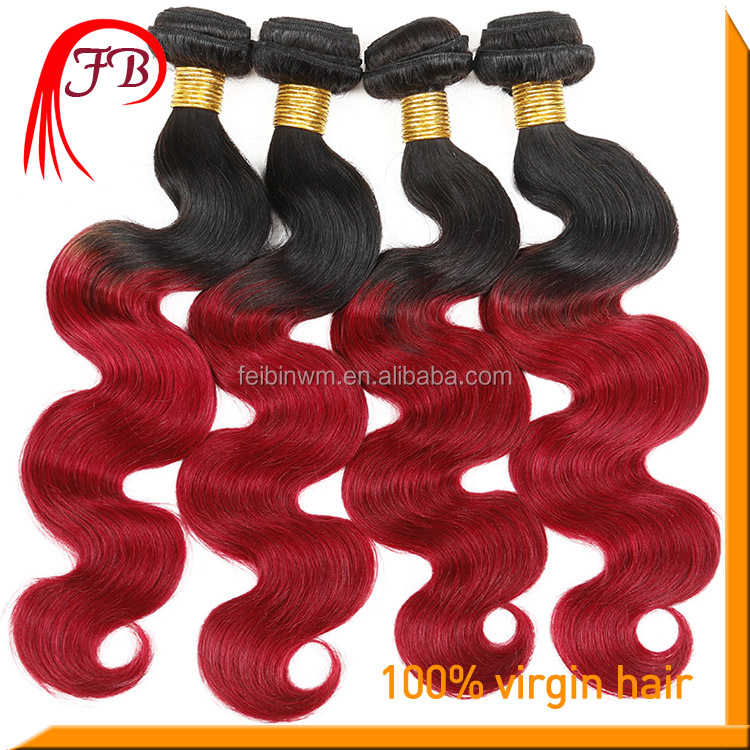 Hot Sale Human Ombre Color Body Weave Hair Extension Brazilian Red Weave Hair