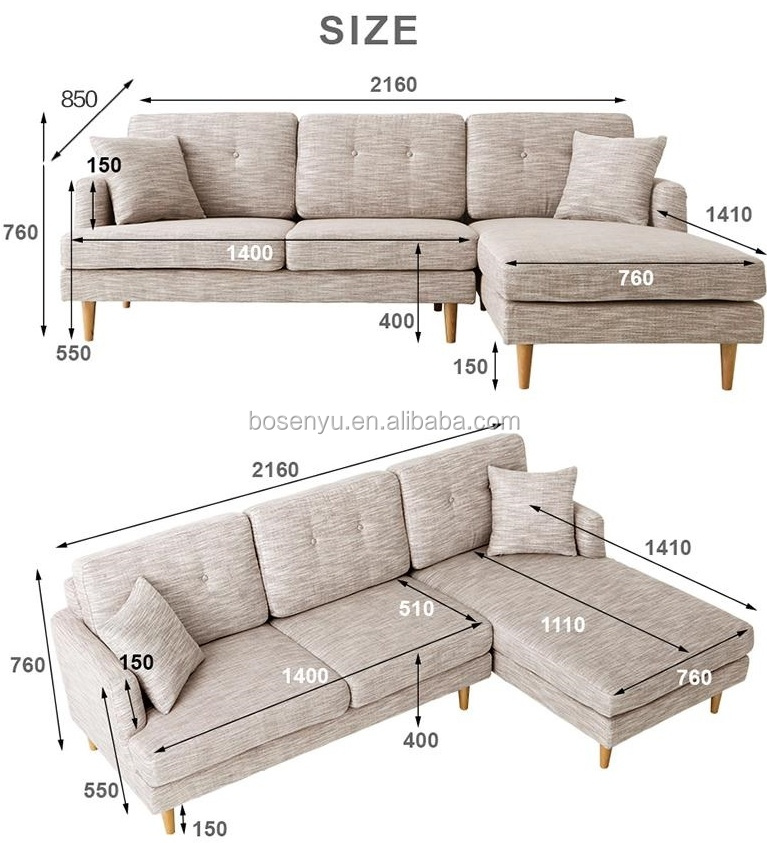 hot selling living room furniture cheap small L shaped combine sofa lounge fabric corner sofa