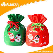 Customized non-woven christmas kids gift bags candy bags promotional drawstring bags