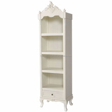 2017 new simple design white wooden tall bookcase