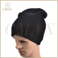 Black acrylic/wool/cashmere jacquard classic men fashion winter knitted hat/beanie
