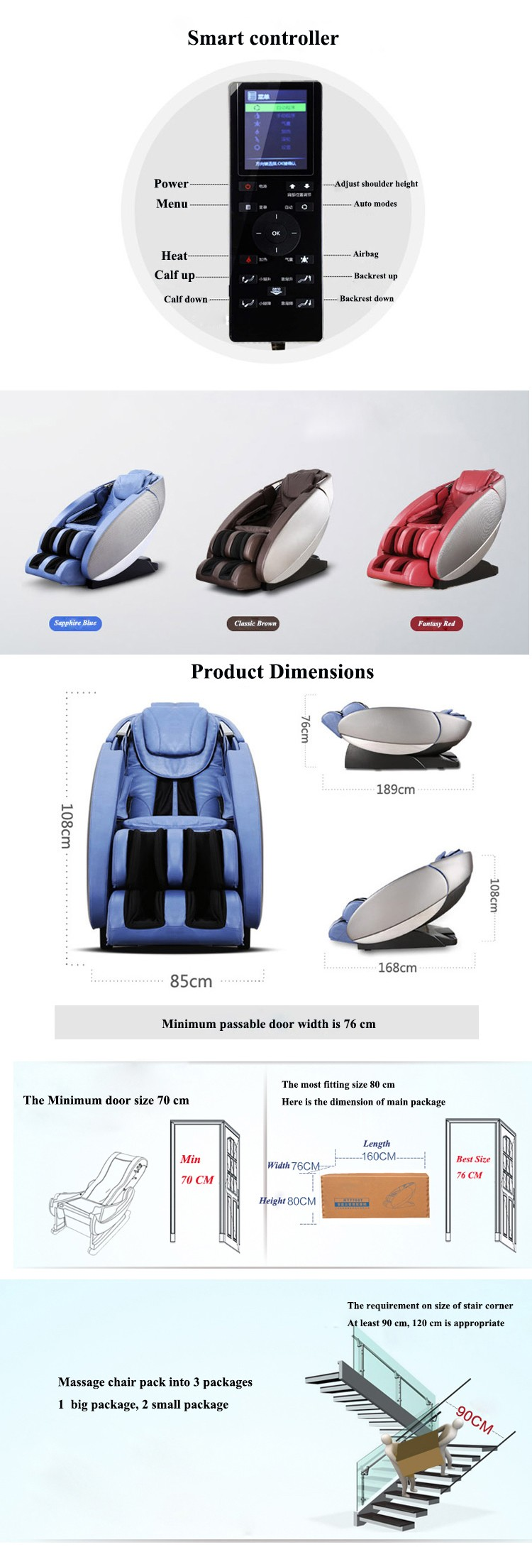 Best Full Leather Foot Care Massage Chair / Music Massage Chair RT7700