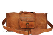 Handmade Leather Square Duffel 20 inch Travel Bags and vintage army bags