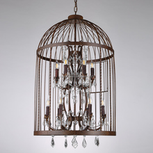 Big Birdcage 2-layer bulb crystal chandelier
