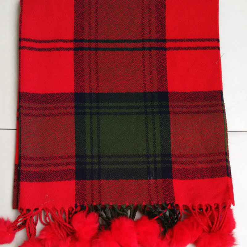 Cashmere & Cotton scarf long pattern winter scarf fur pompom scarf