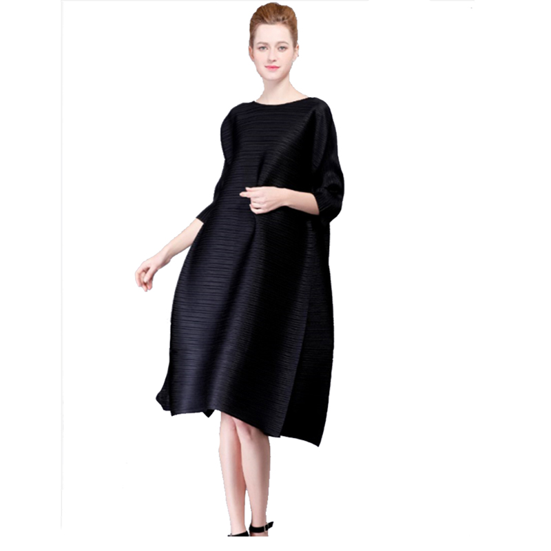 New fashion loose style black lantern pleated maternity dress