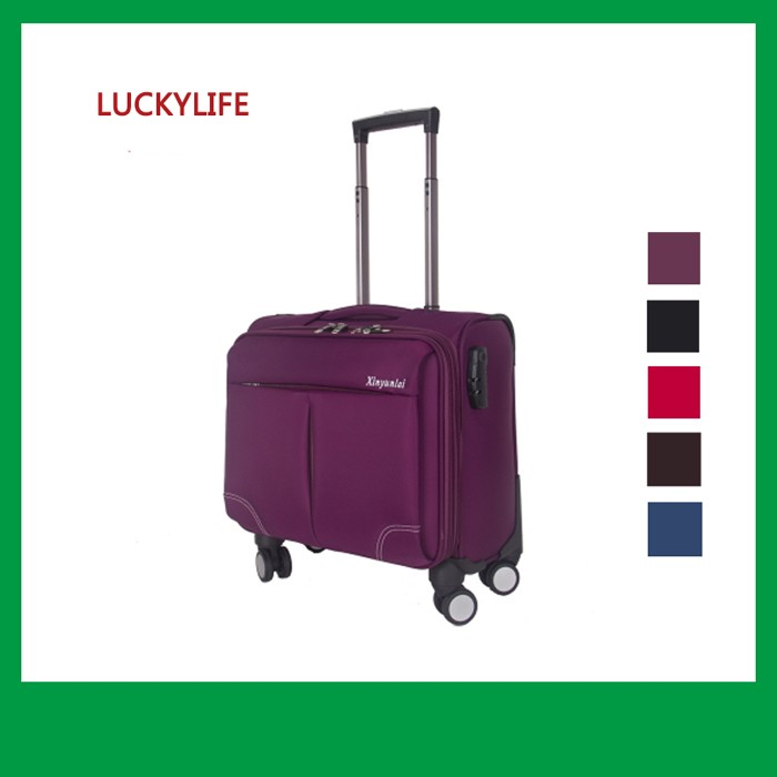 16 inch small fabric cabin trolley bags with 4 wheels