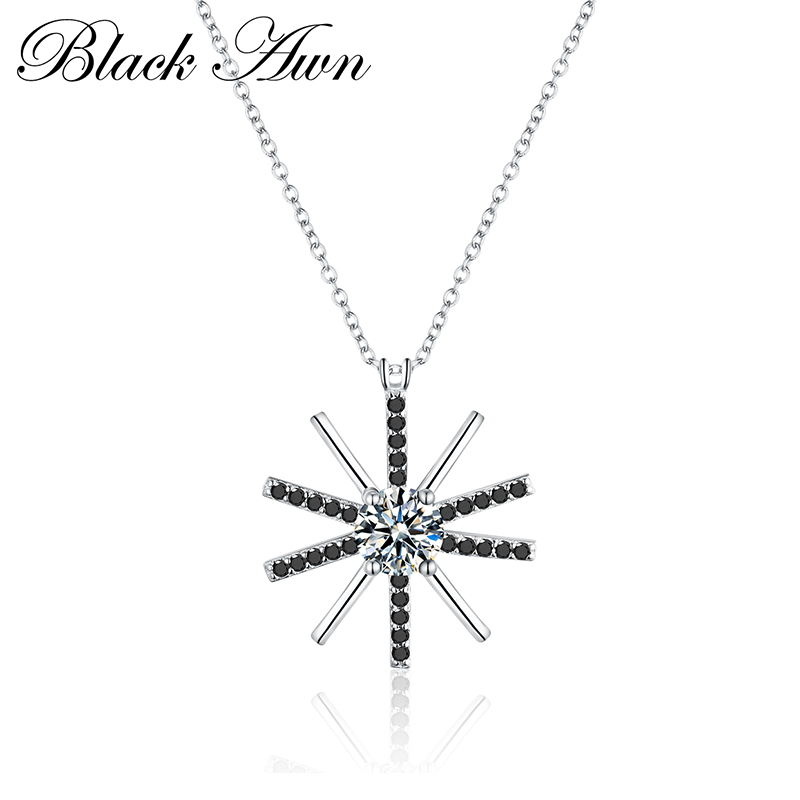 [BLACK AWN] Fine Genuine 925 Sterling Silver Jewelry 0.8Ct Classic Black&amp;White Stone Necklace Women Bijoux Femme <strong>P008</strong>