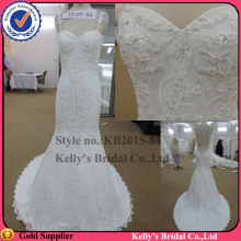 hot sales abroad maket mermaid skirt design Appliqued lace and spaghetti seam wedding dresses for mature woman