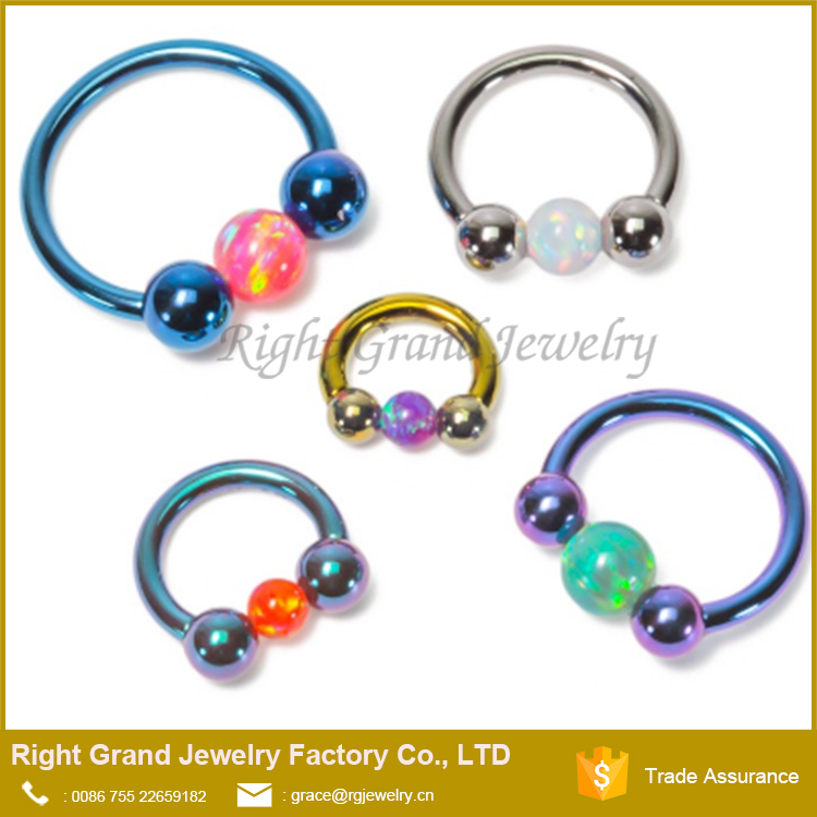 Surgical Steel Internally Threaded Opal Ball Circular Barbell Nose Septum Ring