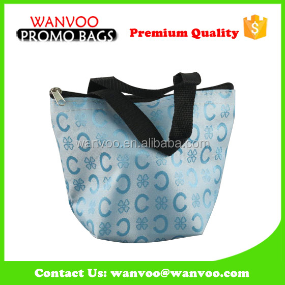 Sky Blue Mini Polyester Shopping Bag Custom Zip for Shopping