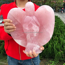 Natural handmade rose quartz crystal angel statue/angel figurines wholesale