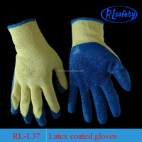10gAUGE YELLOW liner WITH BLUE latex winter work glove