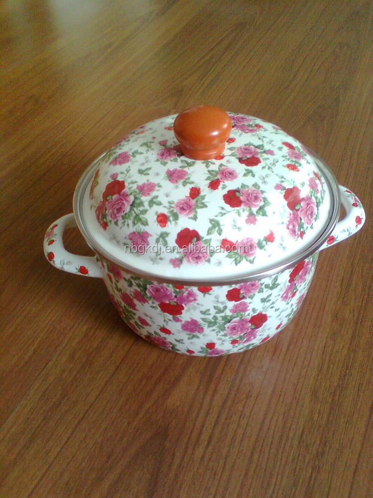 Rose Decal Enamel Pot/Enamel casserole/Enamel Cookware, flower cooking pots and pans