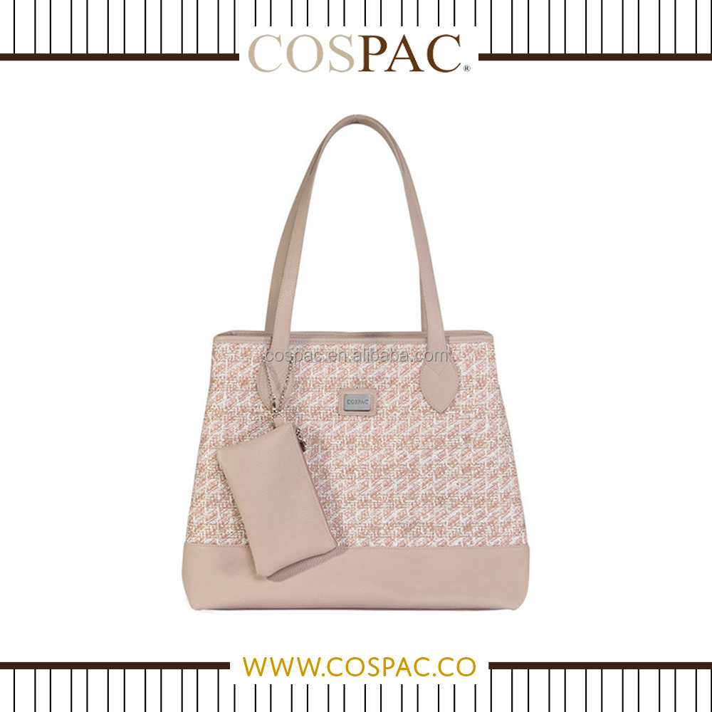 2015/2016 Latest Designer Women / Lady Light Pink Weaving Pattern Polyester Material Handbag