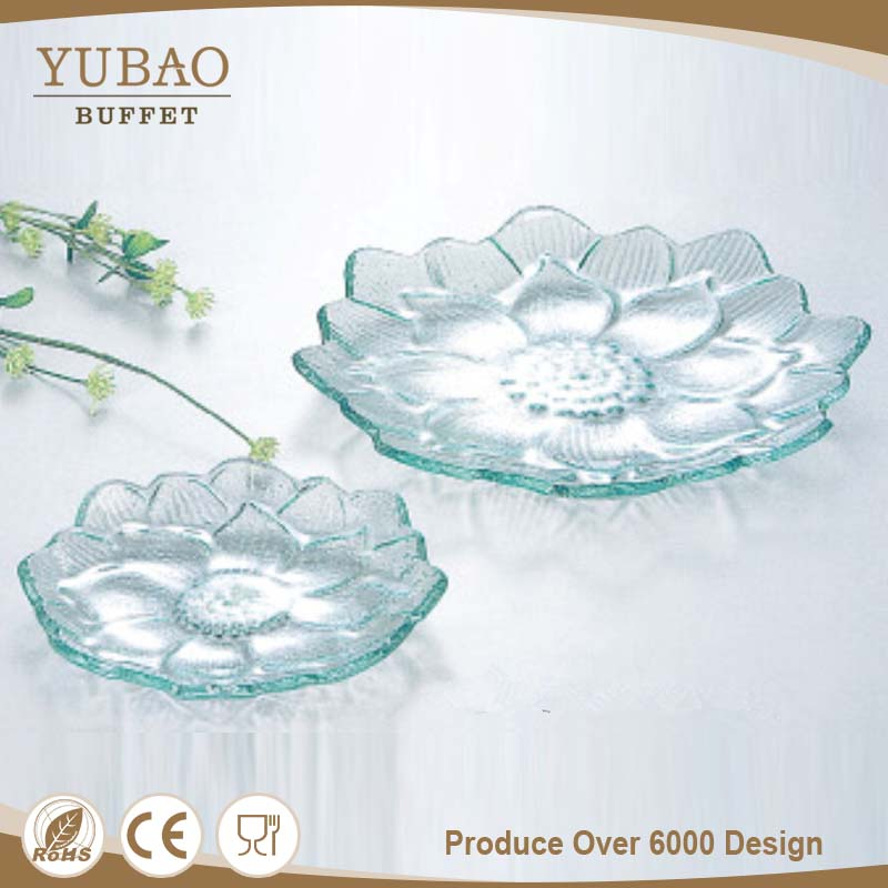 Catering Equipments Hottest Opal Glass Dinnerware , Olive Garden Dinnerware , Blue Glass Dinnerware With Flower Design