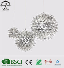 stainless steel round ball modern led chandelier
