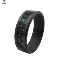 Unique stainless steel glowing mens carbon fiber ring from Dongguan factory