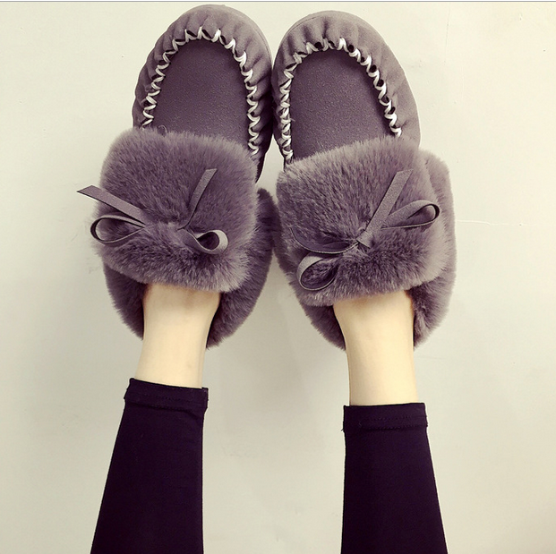 2016 hot sell velvet pea shoes female Korean winter shoes pure color flat casual shoes plush warm shoes women cotton-shoes