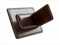 Deluxe durable leather magnetic money clip genuine leather bill clip with card slots