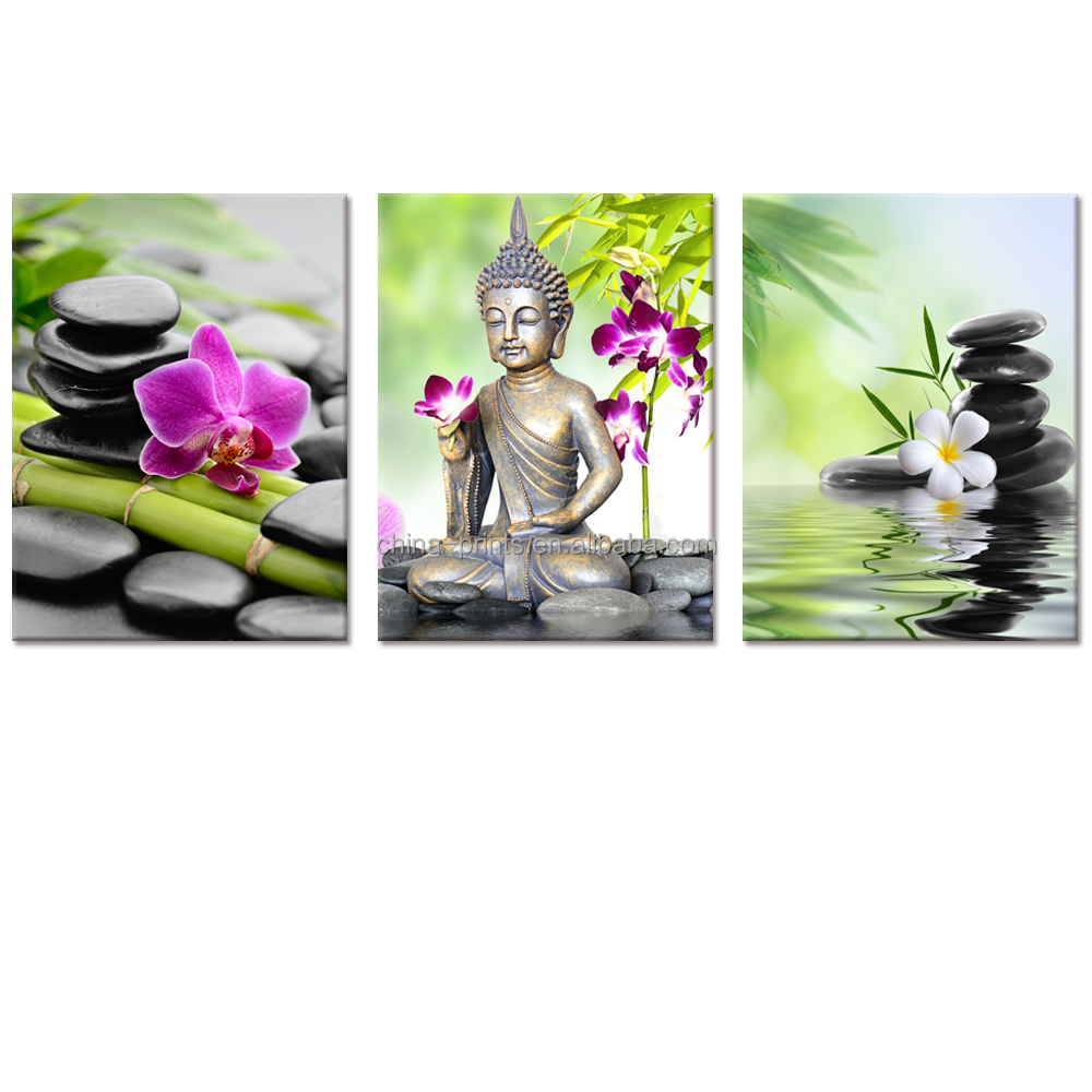 Buddha Canvas Wall Art Zen Stone Orchid Flower Painting <strong>Picture</strong> Printed on Canvas for Home Wall Decor