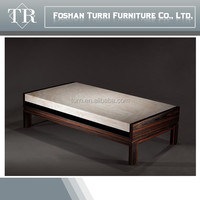 Italian Simply Ebony Veneer Base Travertine Top Coffee table
