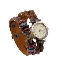 Lucky gift fashion promotional vintage 2017 newest braid wrap quartz leather wrist watch