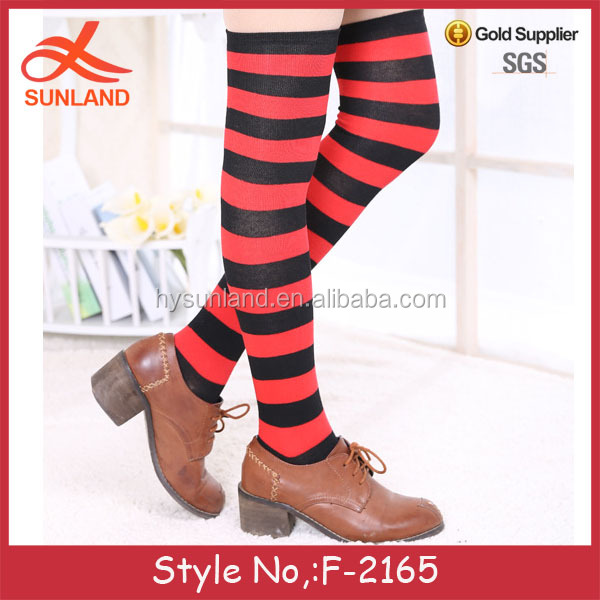 F-2165 new thigh high striped over the knee woman long socks imported from china factory