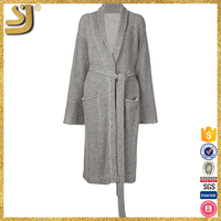 Ladies' worsted round-neck digital long grey cotton and cashmere blend cardigan sweater