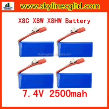 Syma X8 Series battery 7.4V 2500 mAh 25c For Syma X8C X8W X8G X8HC X8HG X8HW Drone Lipo Battery Helicopter Battery
