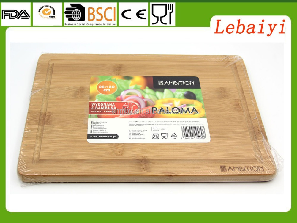 Classic Bamboo Extra Large Bamboo Cutting Board with Drip Groove on Top Side