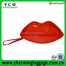 Fashion unique jelly lip shaped cosmetic bag,tote bag