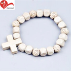 Personalized design holy christian cord bead wood rosary bracelet