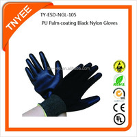 PU Palm coated Black Nylon Gloves