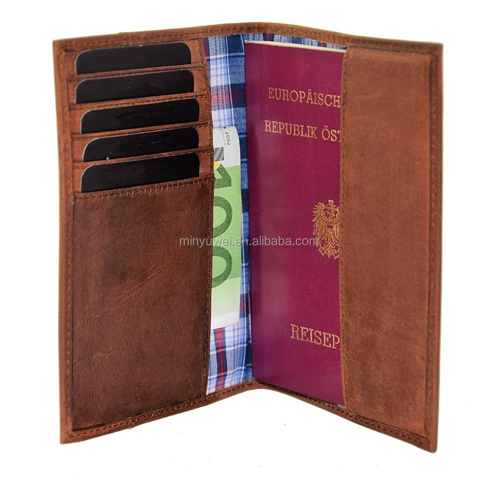personalized brown crazy horse cowhide leather passport holder wallet for air