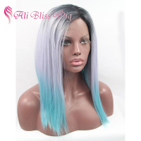 "14"" Straight Heat Resistant Fiber Hair Tri Color Dark Roots Ombre Grey Blue Short Bob Synthetic Lace Front Wigs for Black Women"
