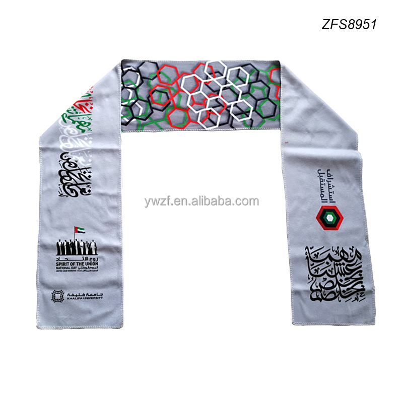 China factory custom printed polyester fleece UAE scarf for UAE National Day