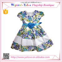 Colorful floral printed children flower girls' dress with OEM service