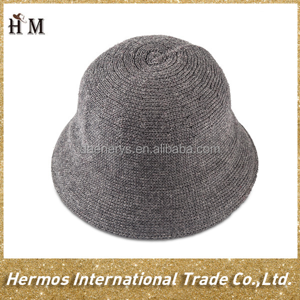Cheap wholesale custom plain wool winter knitted bucket hat for lady