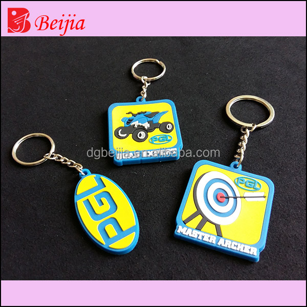 All types of custom silicone 3d keychains rubber key chains China supplier for sports